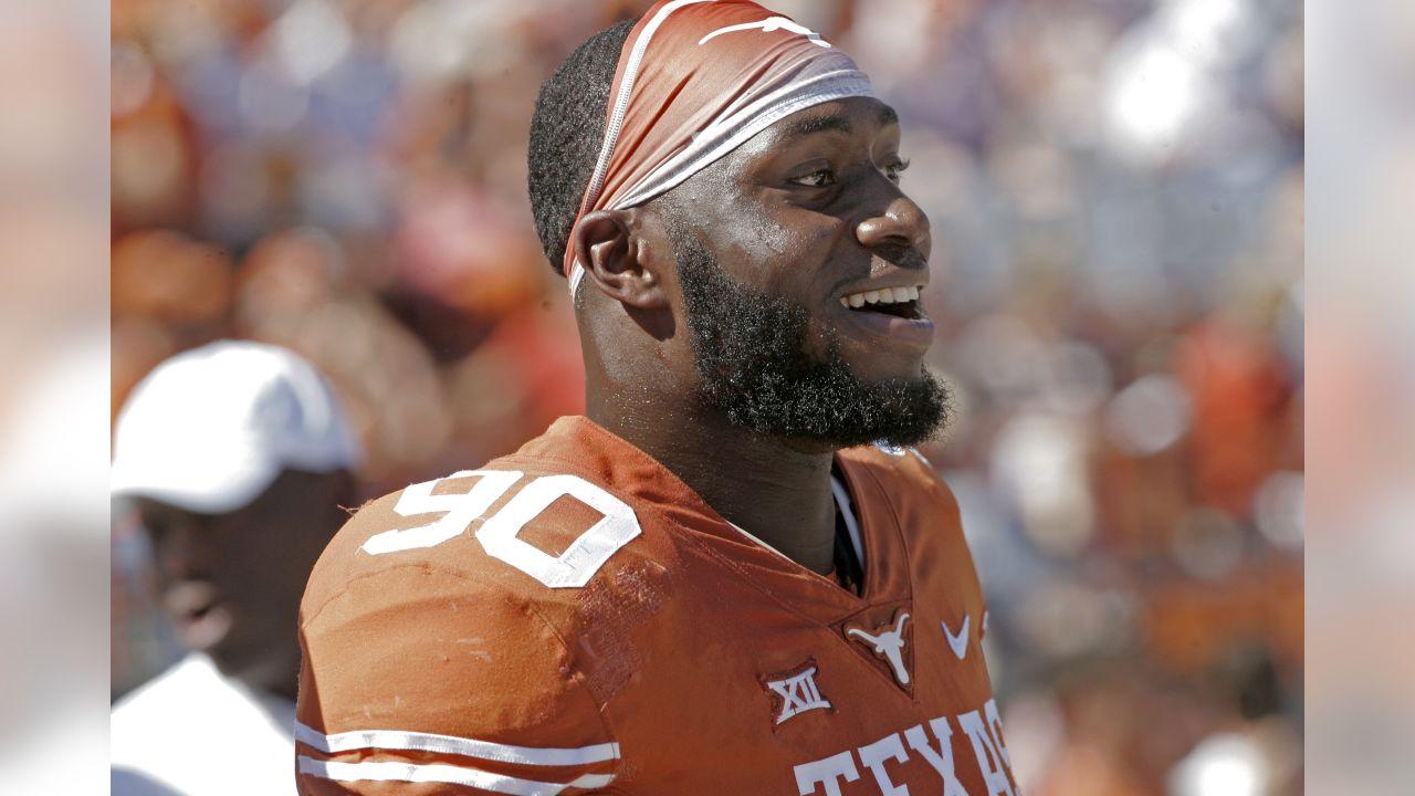 Texas' Charles Omenihu before an NCAA college football game, Saturday, Nov. 3, 2018, in Austin, Texas. (AP Photo/Michael Thomas)