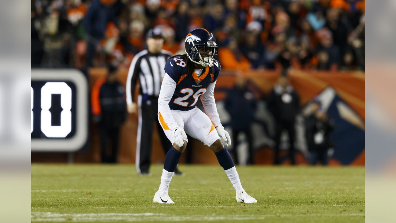 Denver Broncos cornerback Bradley Roby (29) in action during an NFL football game against the Cleveland Browns on Saturday, Dec. 15, 2018, in Denver. The Browns defeated the Broncos, 17-16. (Ryan Kang via AP)
