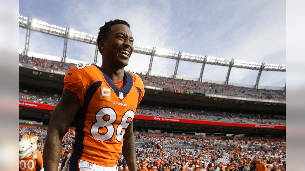 Denver Broncos wide receiver Demaryius Thomas smiles as he runs on the field during an NFL football game between the Denver Broncos and the Cincinnati Bengals, Sunday, Nov. 19, 2017, in Denver. (AP Photo/Jack Dempsey)