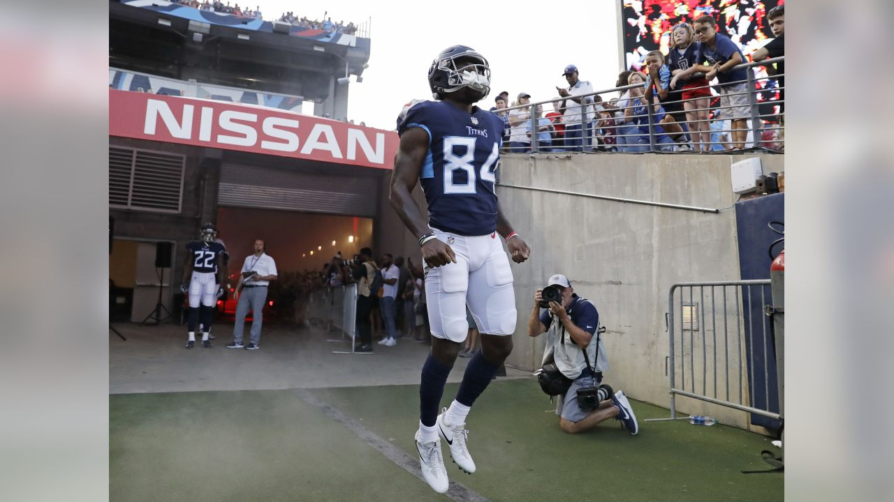 Tennessee Titans wide receiver Corey Davis (84) takes the field before a preseason NFL football game against the Tampa Bay Buccaneers Saturday, Aug. 18, 2018, in Nashville, Tenn. (AP Photo/James Kenney)