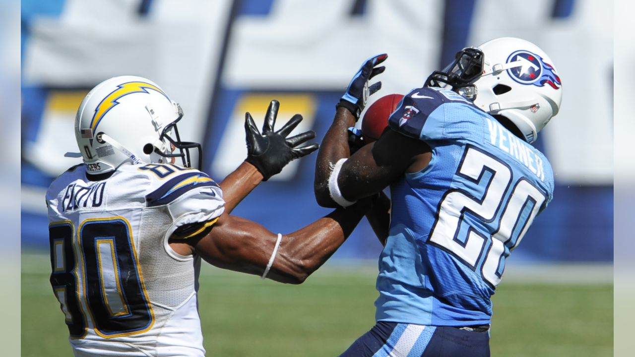 San Diego Chargers wide receiver Malcom Floyd (80) misses the catch as Tennessee Titans cornerback Alterraun Verner, right, blocks the ball during the second quarter of an NFL football game Sunday, Sept. 16, 2012, in San Diego. Verner picked up an interception on the play. (AP Photo/Denis Poroy)