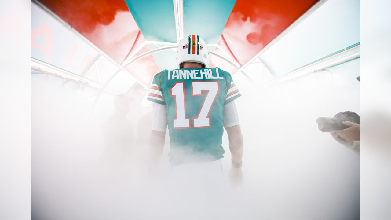 Miami Dolphins quarterback Ryan Tannehill (17) walks out for intros prior to a NFL football game against the New England Patriots, Sunday, Dec. 9, 2018, in Miami Gardens,Fla. (Logan Bowles via AP)