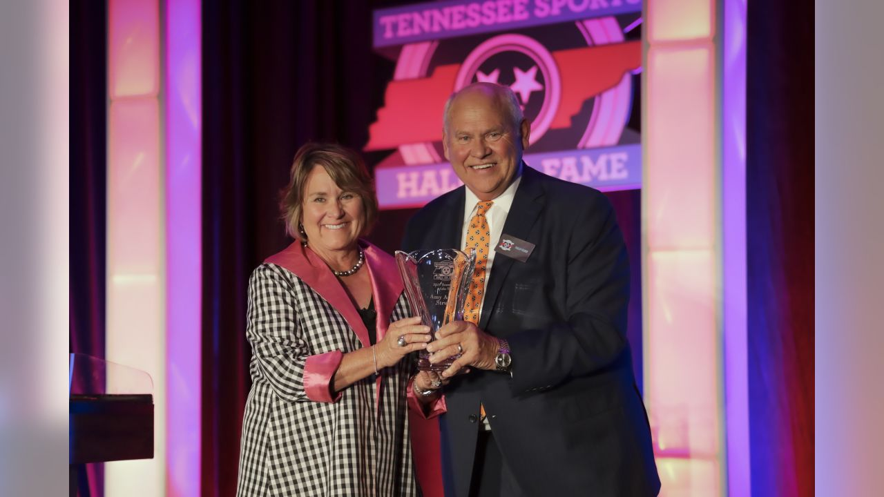 NASHVILLE, TN - JUNE 15, 2019 -  Controlling Owner Amy Adams Strunk with Phillip Fulmer at the Tennessee Sports Hall of Fame ceremony to receive the Tennesseean of the Year Award at the Omni Hotel in Nashville, TN. Photo By Donald Page/Tennessee Titans