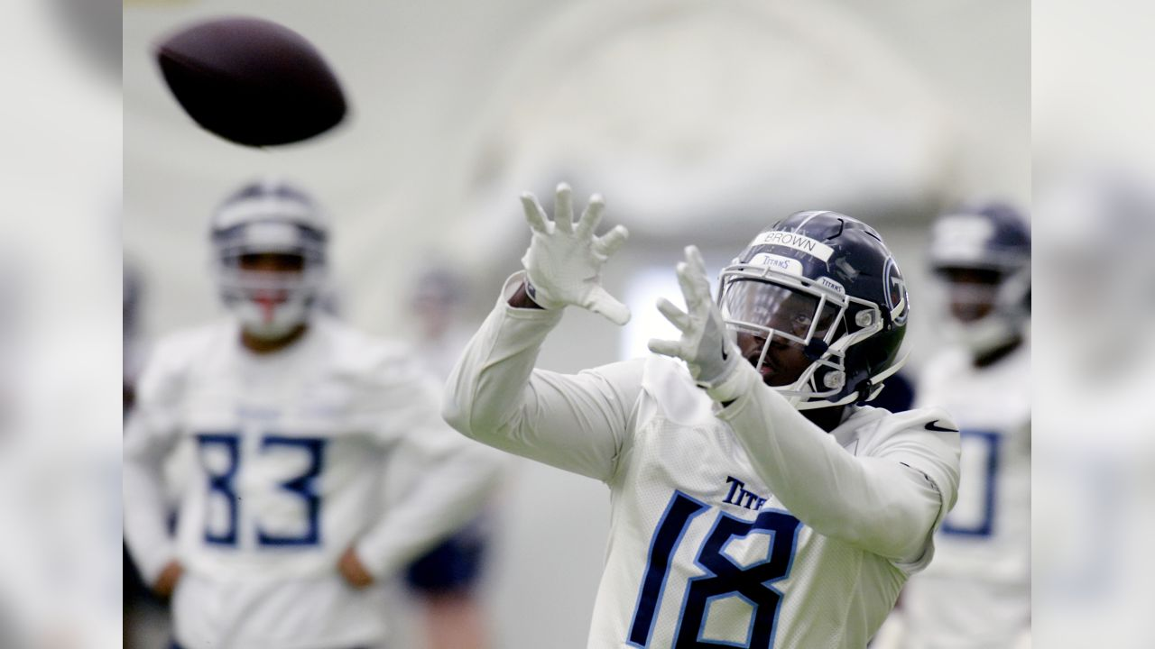 Tennessee Titans wide receiver A.J. Brown (18) catches a pass during NFL football rookie minicamp Saturday, May 11, 2019, in Nashville, Tenn. (AP Photo/Mark Zaleski)