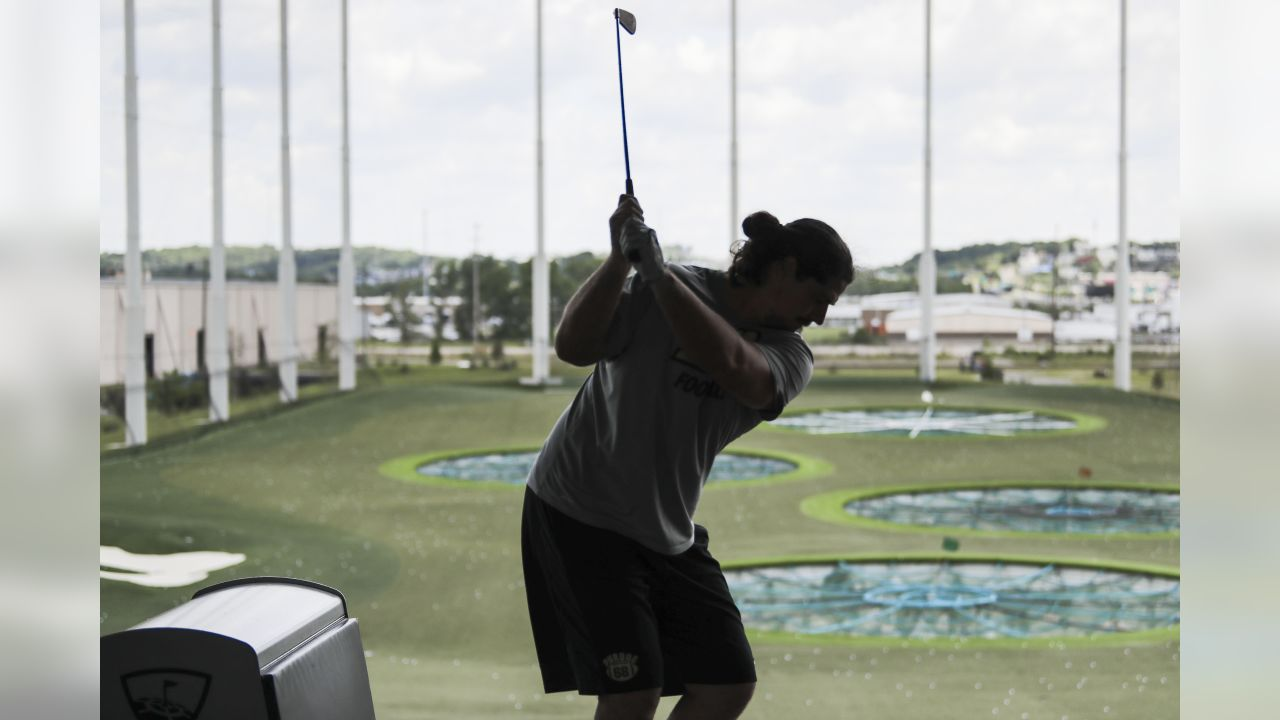 NASHVILLE, TN - JUNE 13, 2019 - Dennis Kelly #71 of Tennessee Titans during the team outing to Topgolf in Nashville, TN. Photo By Donald Page/Tennessee Titans