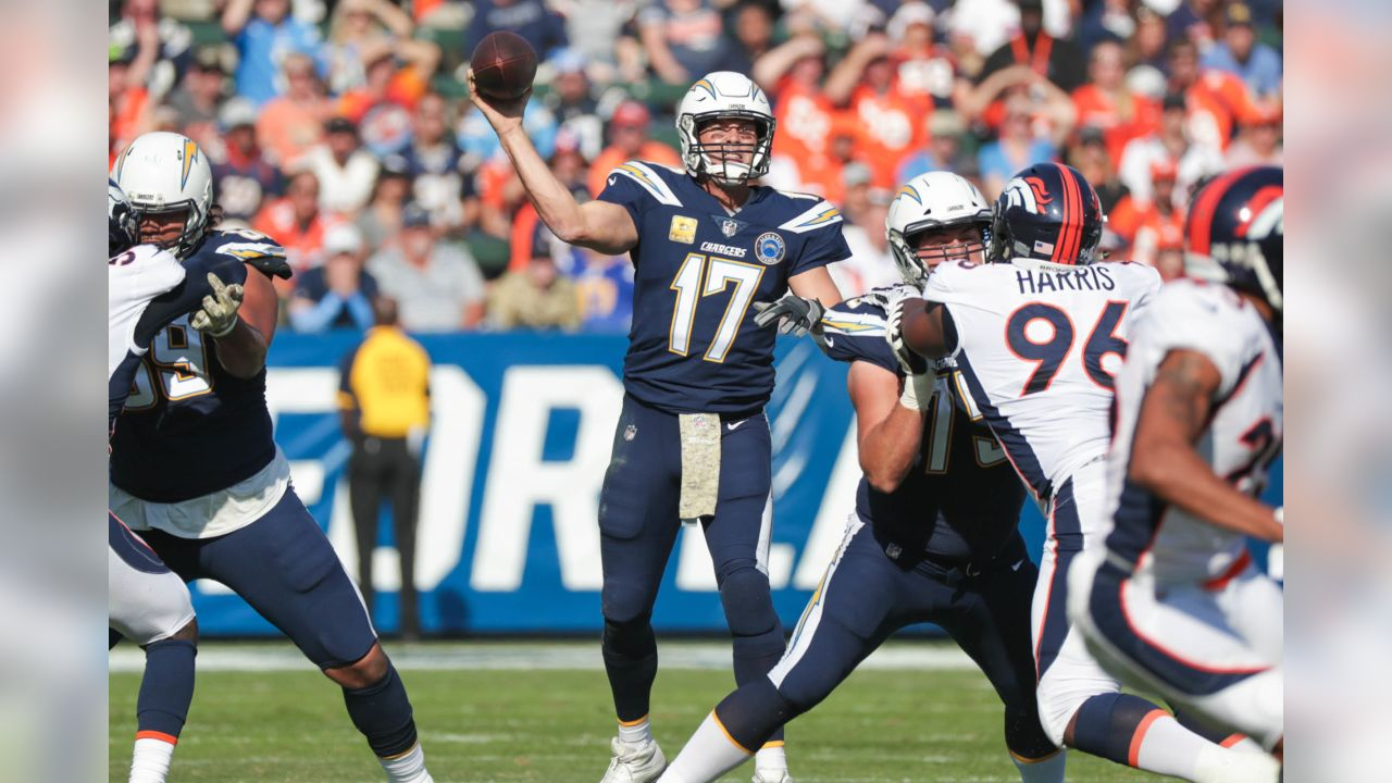 Philip Rivers throws the ball during the Week 11 matchup against the Denver Broncos from ROKiT Field at StubHub Center.