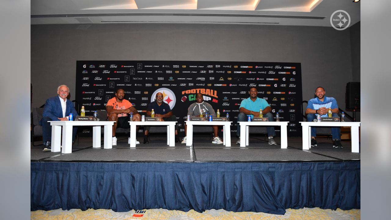 Steelers players and alumni hold a press conference to kickoff the 8th annual Steelers football camp in Mexico City.