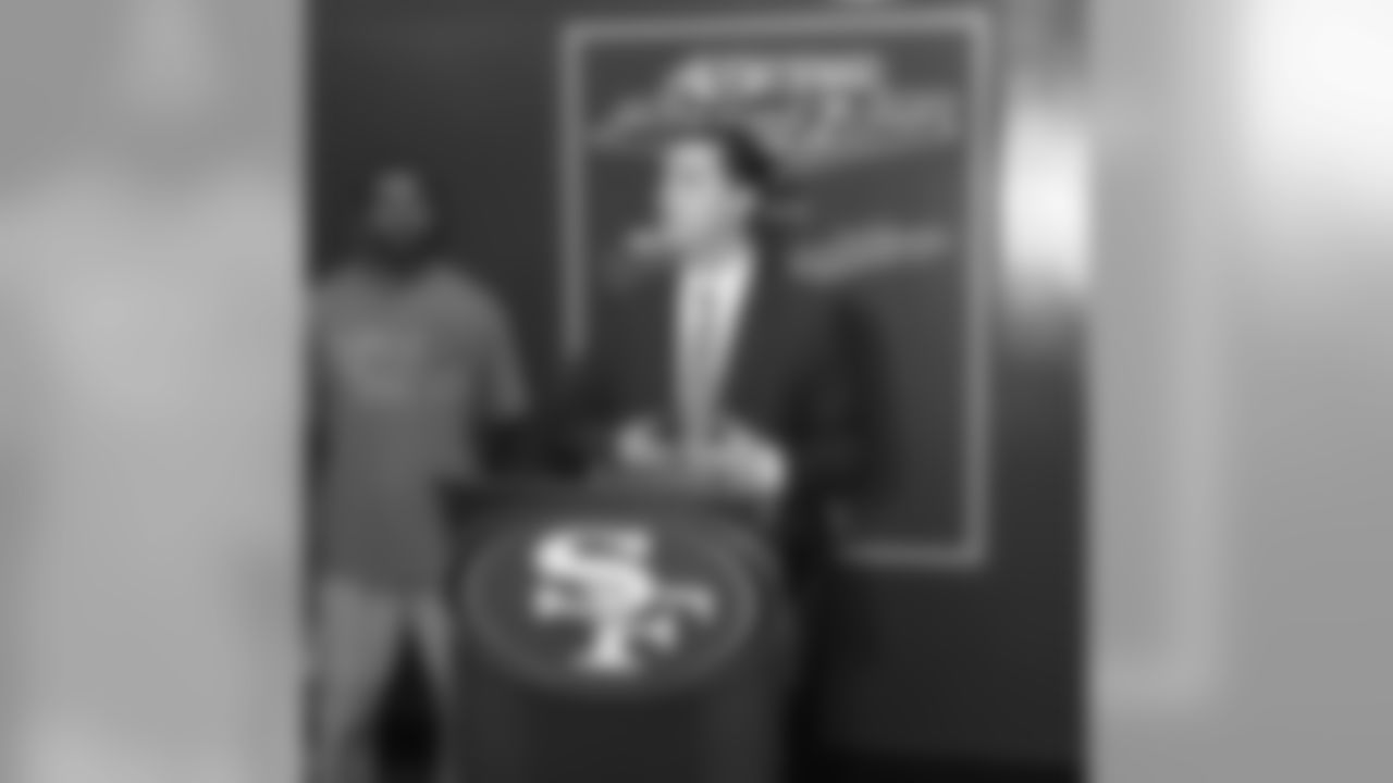 49ers Vice President of Strategic Planning/Owner Jed York speaks at the ope