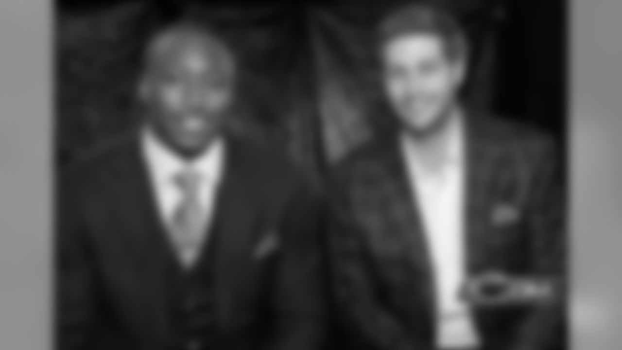 3/16/12 - What's old is what's new. Brandon Marshall and Jay Cutler are all smiles before Marshall's introductory press conference.