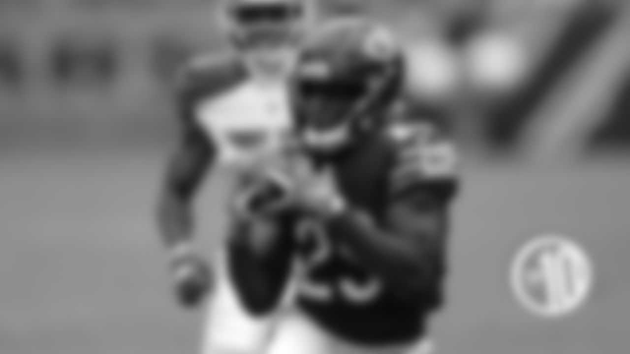 9T. Mitchell Trubisky completes a 35-yard pass to Tarik Cohen Sept. 30 against the Buccaneers.