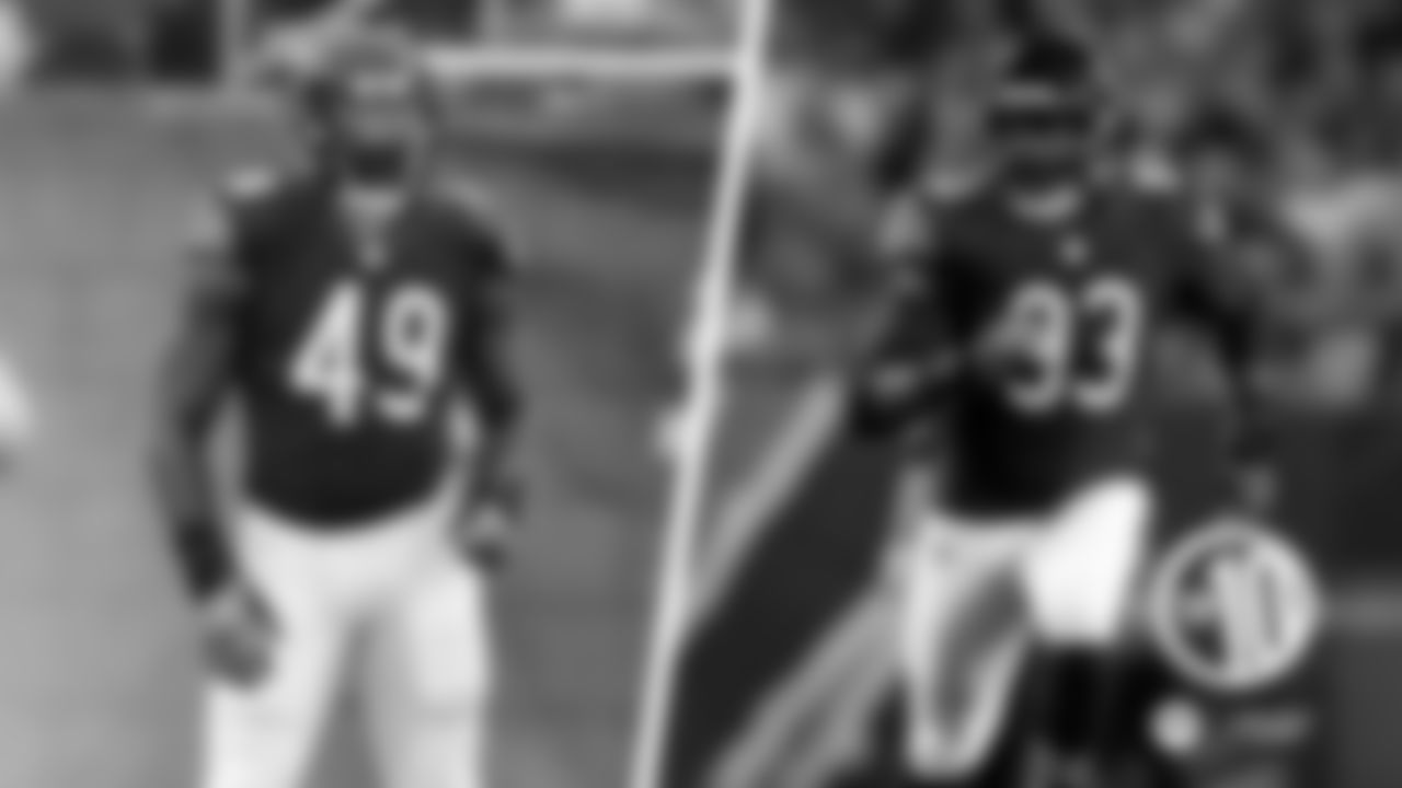"""(10) Sam Acho (No. 49 to 93)  The outside linebacker wore No. 49 in his first two seasons with the Bears in 2015-16 before changing to No. 93 in his final two years in 2017-18. Acho made the switch because he liked the number """"3"""" following the release of defensive lineman Will Sutton, who had been wearing No. 93."""