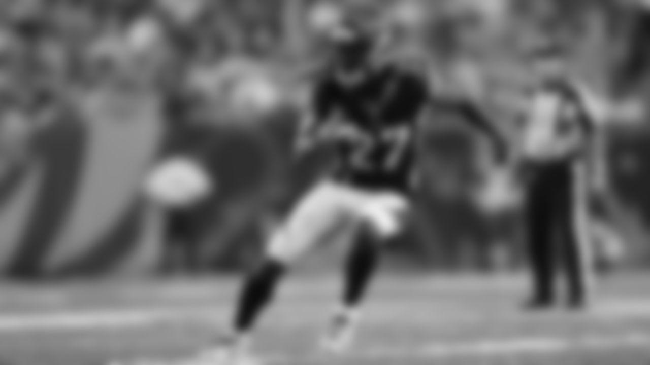 Cincinnati Bengals defensive back Dre Kirkpatrick (27) in coverage during a week 2 NFL football against the Baltimore Ravens on Thursday, Sept. 13, 2018 in Cincinnati. Cincinnati won 34-23. (Aaron M. Sprecher via AP)
