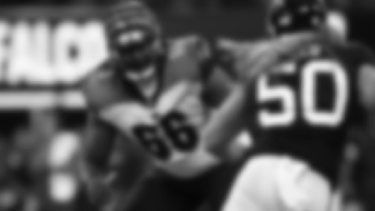 Cincinnati Bengals offensive guard Trey Hopkins (66) blocks during a week 4 NFL football game against the Atlanta Falcons on Sunday, Sept. 30, 2018 in Atlanta. Cincinnati won 37-36. (Aaron M. Sprecher via AP)