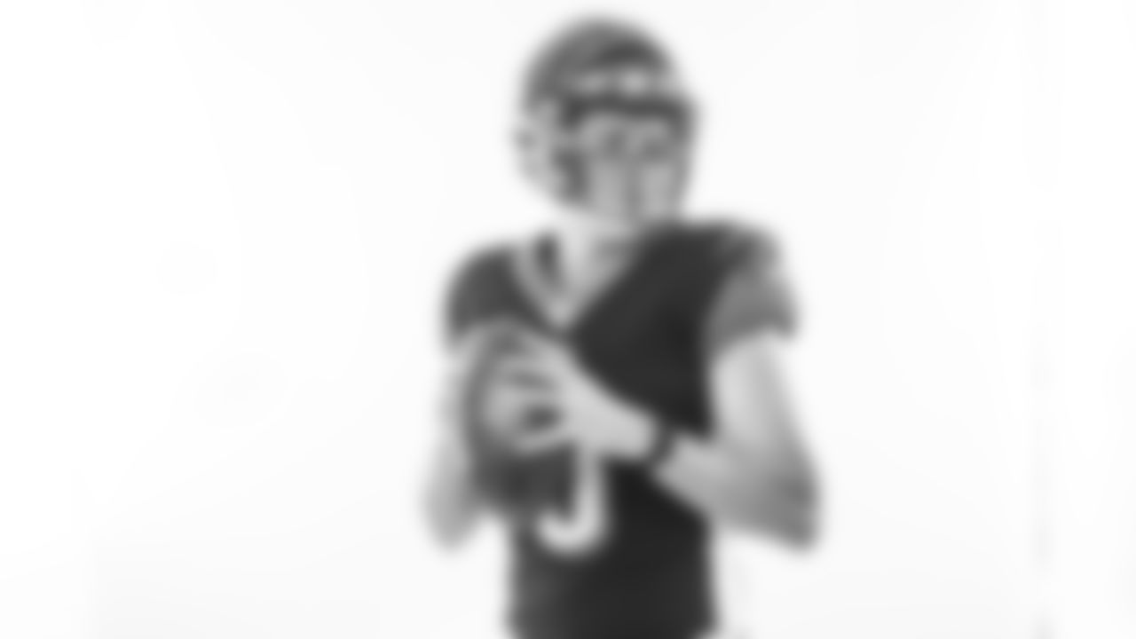 Cincinnati Bengals quarterback Ryan Finley posing in the NFL photo booth at the 2019 NFLPA Rookie Premiere.