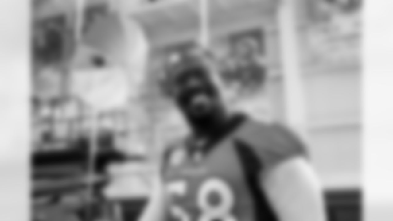 Von Miller at the team's 2021 team picture day held in the field house at UCHealth Training Center on September 25, 2021. (Photo by Ben Swanson)