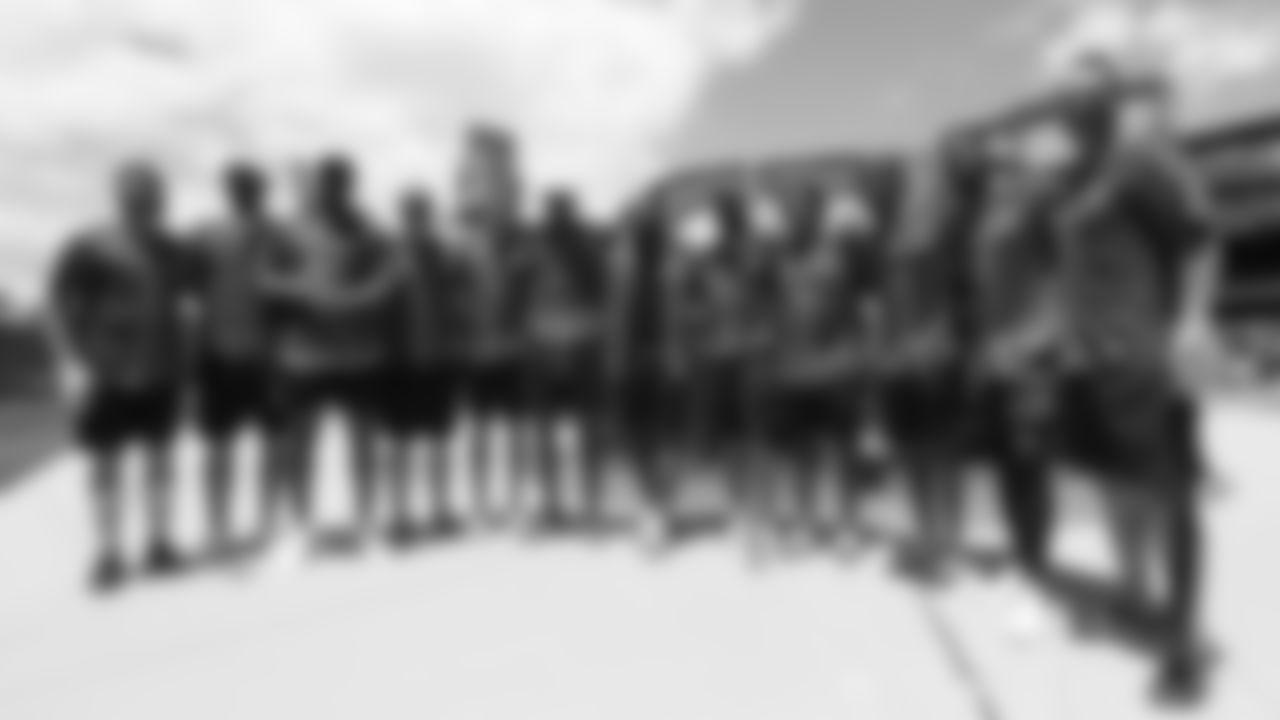 The participants in UCHealth's 2019 Healthy Swings Charity Home Run Derby Ñ including Ryan Spilborghs, Brandon McManus, Bradley Chubb, Casey Kreiter, Justin Simmons, Courtland Sutton, Royce Freeman, Andy Janovich, Shamarko Thomas, Kareem Jackson and Emmanuel Sanders Ñ at Coors Field on June 11, 2019.