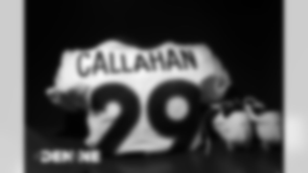 Bryce Callahan's jersey in the locker room before the Broncos' Week 6 game against the New England Patriots at Gillette Stadium in Foxborough, Massachusetts, on October 18, 2020. (Photo by Ben Swanson)