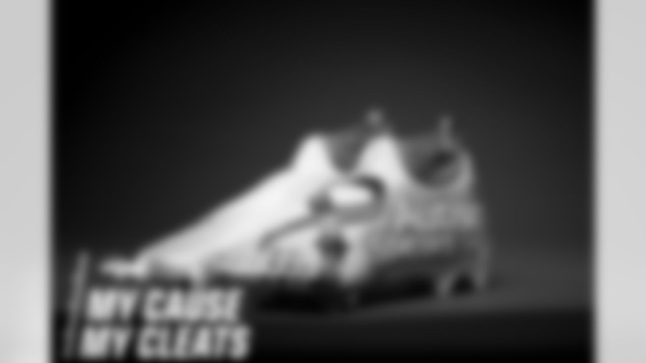 Essang Bassey's cleats represent Autism Speaks and Down Syndrome Association of Greater Winston-Salem for the 2020 My Cause My Cleats campaign. Photo by Gabriel Christus