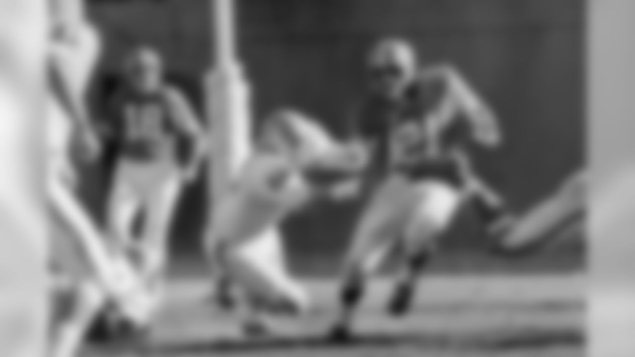 Ring of Fame halfback and kicker Gene Mingo ran for 48 yards, caught five passes for 67 yards and kicked two field goals and an extra point in the Broncos' win over an AFL rival in the team's third season.