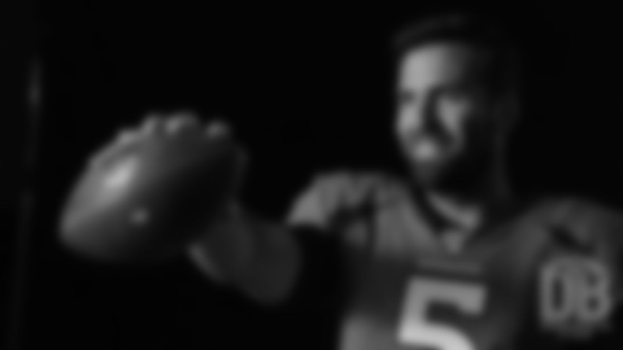 Joe Flacco during the Broncos' media day for players to record video and photo shoots for broadcast networks and local media on June 4, 2019.