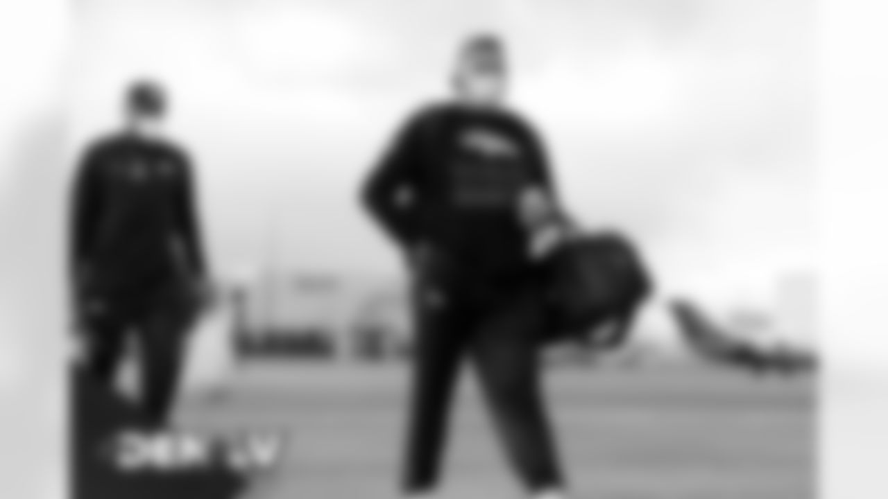 Dalton Risner on the tarmac at Denver International Airport on November 14, 2020 during the team's travel to Las Vegas for a Week 10 game against the Raiders. (Photo by Joe Abdellah)