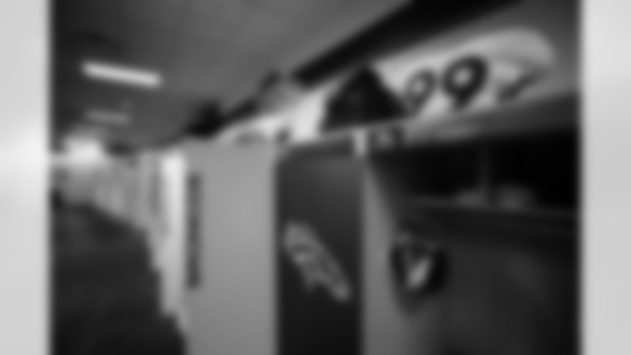 Jurrell Casey's jersey in the locker room before on Day 12 of training camp at Empower Field at Mile High on August 29, 2020. (Photo by Ben Swanson)