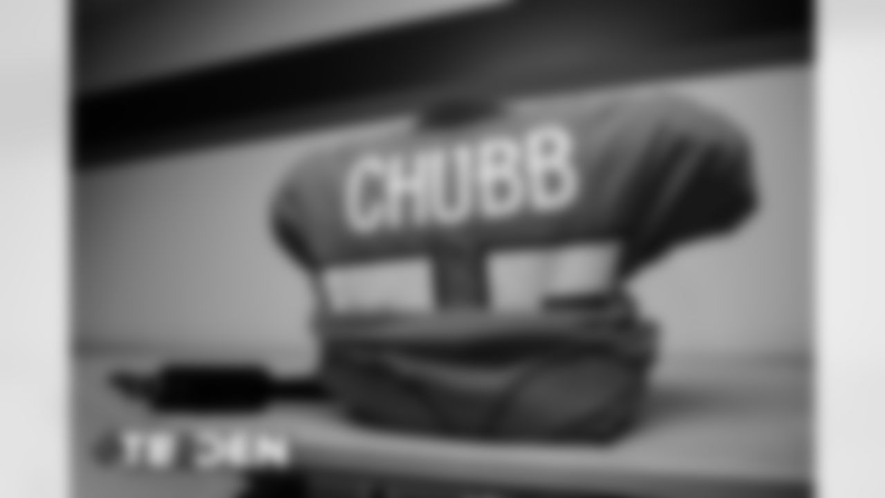Bradley Chubb's jersey in the locker room before the Broncos' Week 3 game against the Tampa Bay Buccaneers at Empower Field at Mile High on September 27, 2020. (Photo by Ben Swanson)