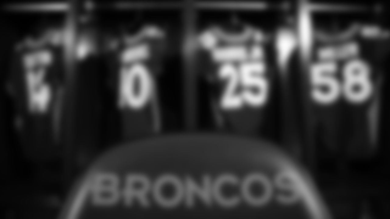 During a photoshoot of the Broncos' alternate blue jerseys on October 10, 2019. (Photo by Ben Swanson)