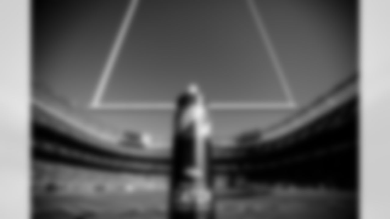 """A view of the """"Crucial Catch"""" stanchion on the field goal post before the Broncos' Week 4 game against the Baltimore Ravens on October 3, 2021 at Empower Field at Mile High in Denver, Colorado. (Photo by Ben Swanson)"""