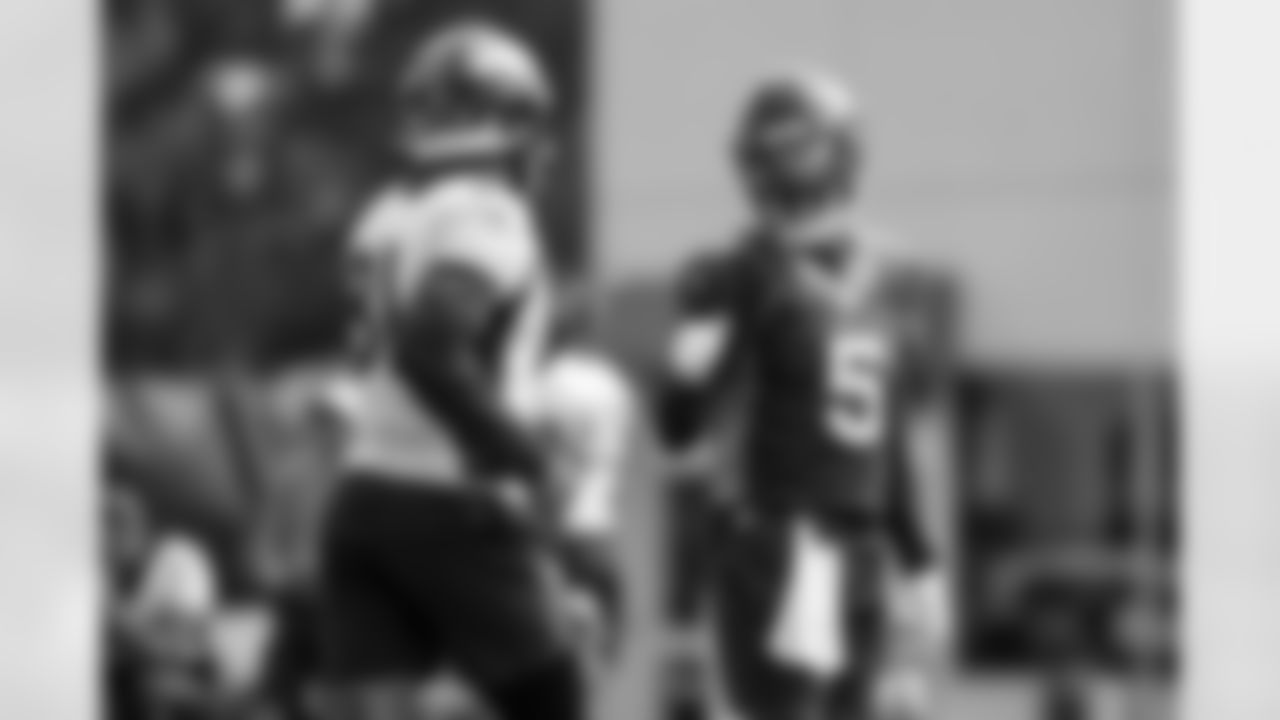 Teddy Bridgewater and Tim Patrick during practice on Day 9 of training camp at UCHealth Training Center on August 7, 2021. (Photo by Ben Swanson)