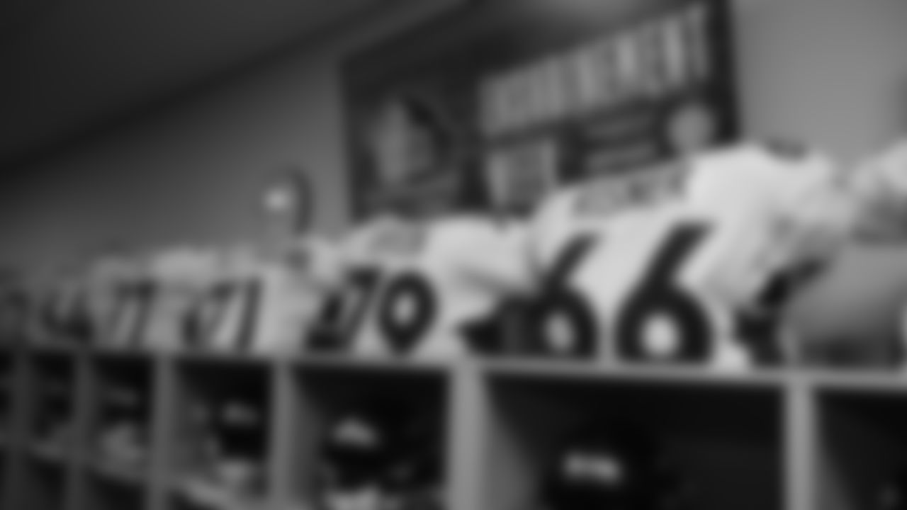 Lockers and jerseys for Dalton Risner and other offensive linemen inside the locker room during the equipment setup before the Broncos' preseason matchup with the Falcons in the Pro Football Hall of Fame Game on August 1, 2019 at Tom Benson Hall of Fame Stadium.