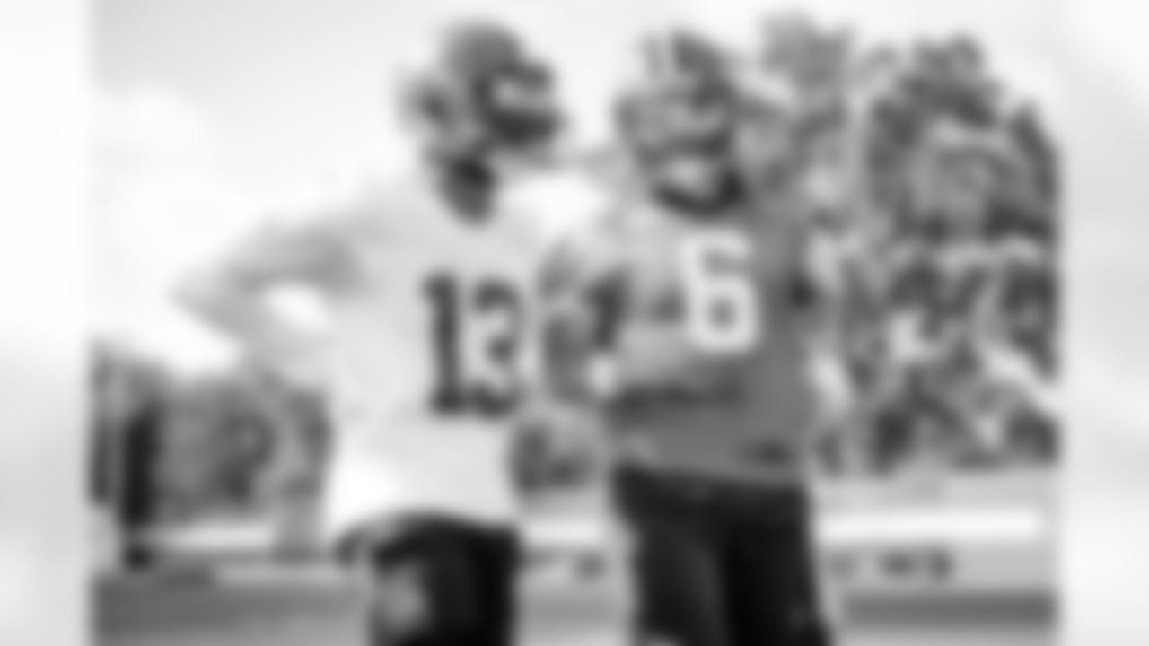 Quarterback Baker Mayfield (6) and Wide receiver Odell Beckham Jr. (13) during practice on September 6, 2021.
