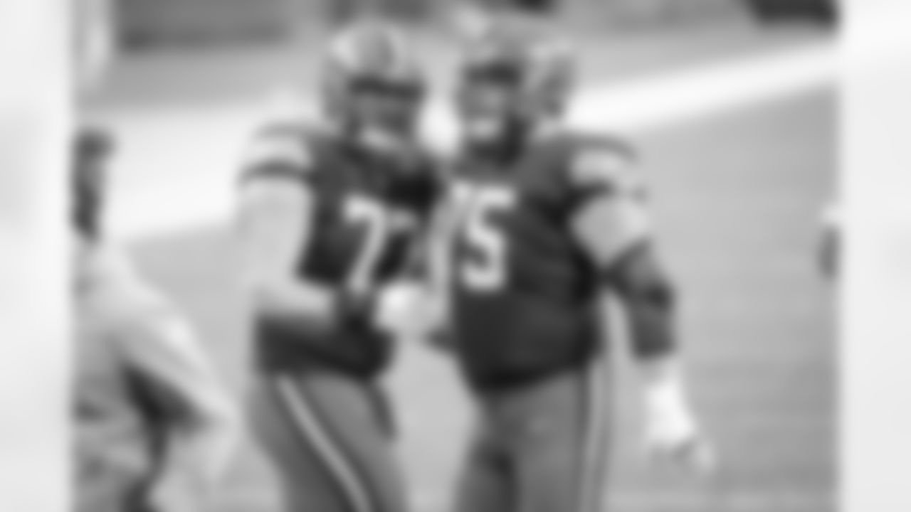 Offensive guard Wyatt Teller (77) and Offensive guard Joel Bitonio (75) during a NFL football game between the Pittsburgh Steelers and Cleveland Browns on January 3, 2021 at FirstEnergy Stadium. The Browns won 24 -22.