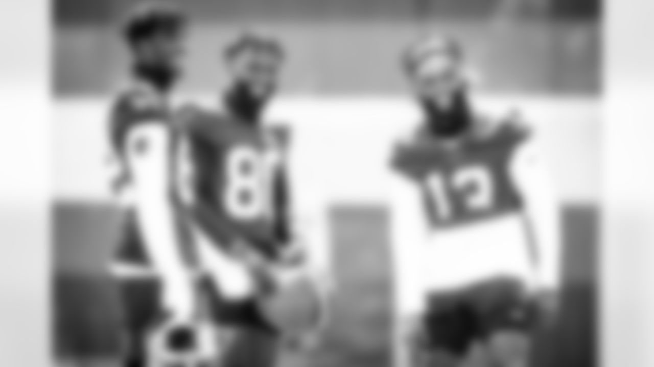 Wide receivers Rashard Higgins (82), Jarvis Landry (80) and Odell Beckham Jr. (13) during the first day of minicamp on June 15, 2021.