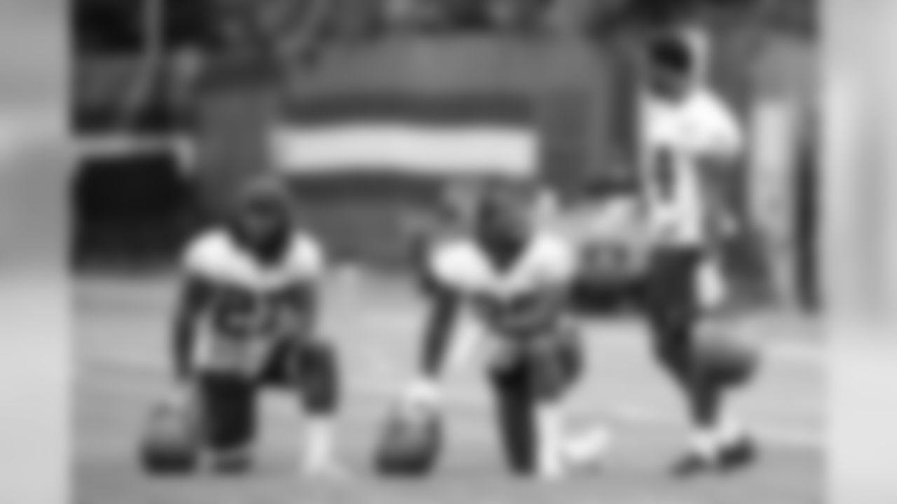 Running Back Kareem Hunt (27), Running Back Nick Chubb (24) and Running Back Duke Johnson Jr. (29) during the first day of minicamp on June 4, 2019.