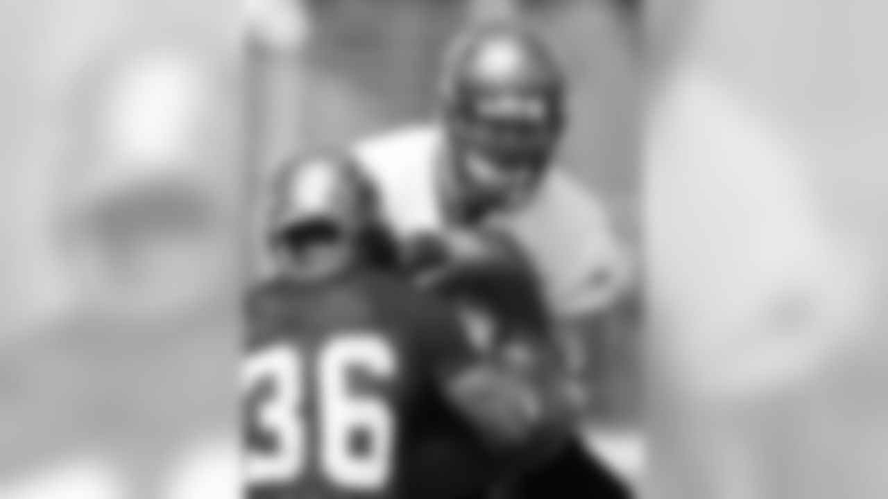 S Tanard Jackson takes on a much bigger offensive lineman
