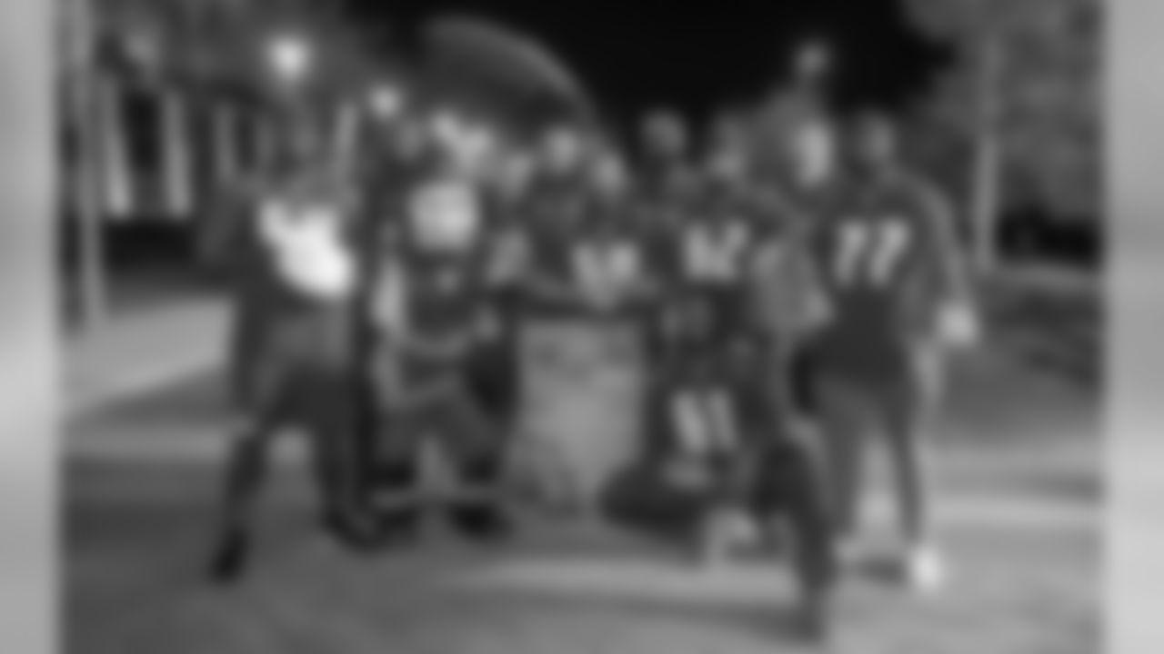 Buccaneers Offensive Linemen Josh Allen, Caleb Benenoch, Evan Smith, Joe Hawley, Ali Marpet, Kevin Pamphile, Gosder Cherilus, Demar Dotson, Leonard Wester, Donovan Smith and Kyler Kerbyson
