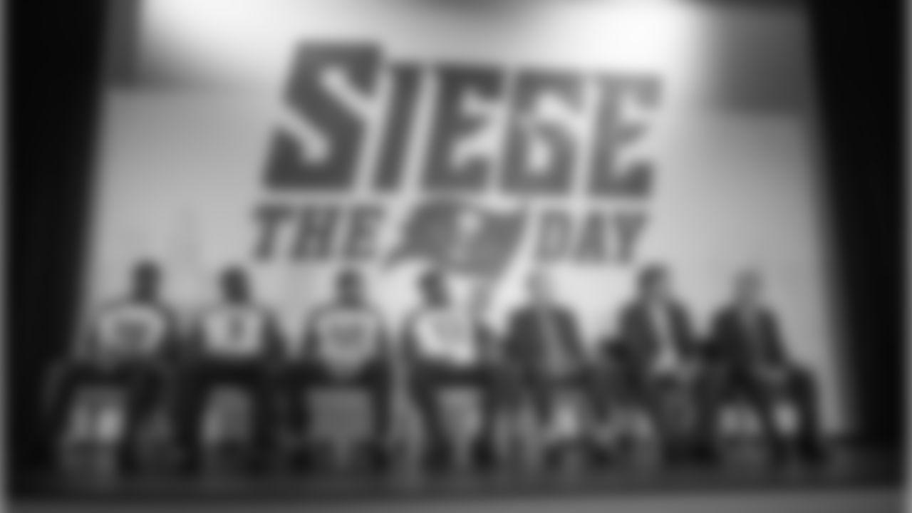 QB Jameis Winston, DT Clinton McDonald, WR Mike Evans, LB Kwon Alexander, HC Dirk Koetter, GM Jason Licht, and Buccaneers Co-Chairman Bryan Glazer. For fun, players wore each other's jerseys.