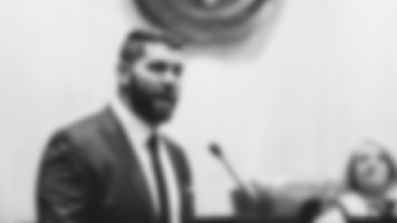 G Justin Pugh makes opening remarks at the Arizona State Senate inside the State Capitol.