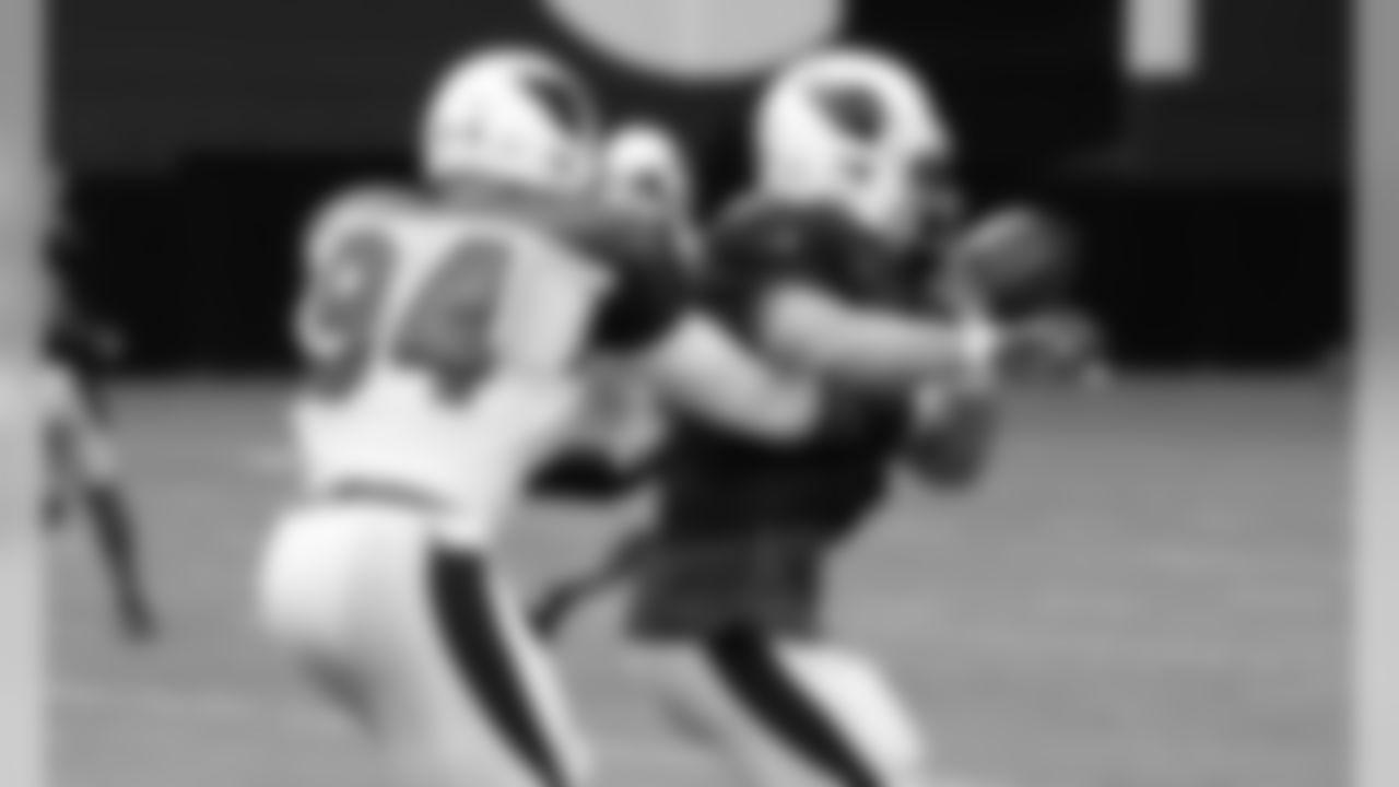 LB Sam Acho punches the ball away from TE John Carlson
