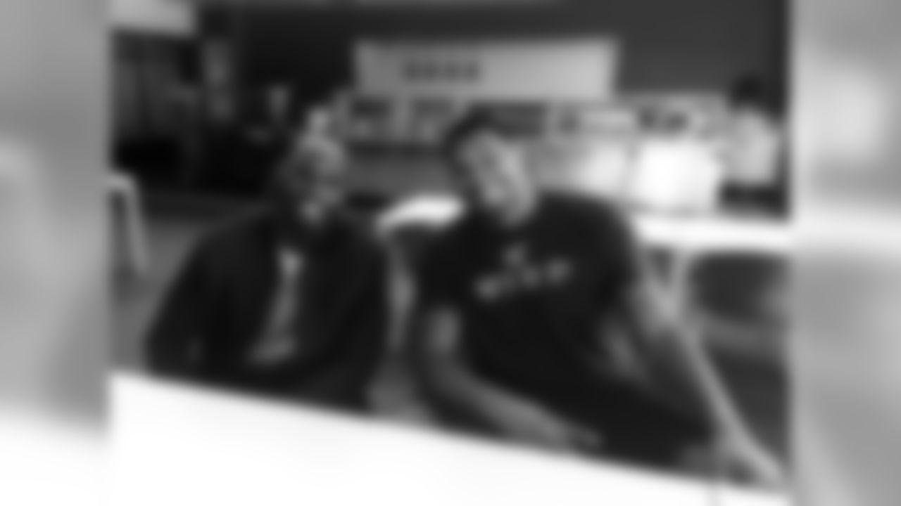 Chandler Jones (left) with new teammate Calais Campbell