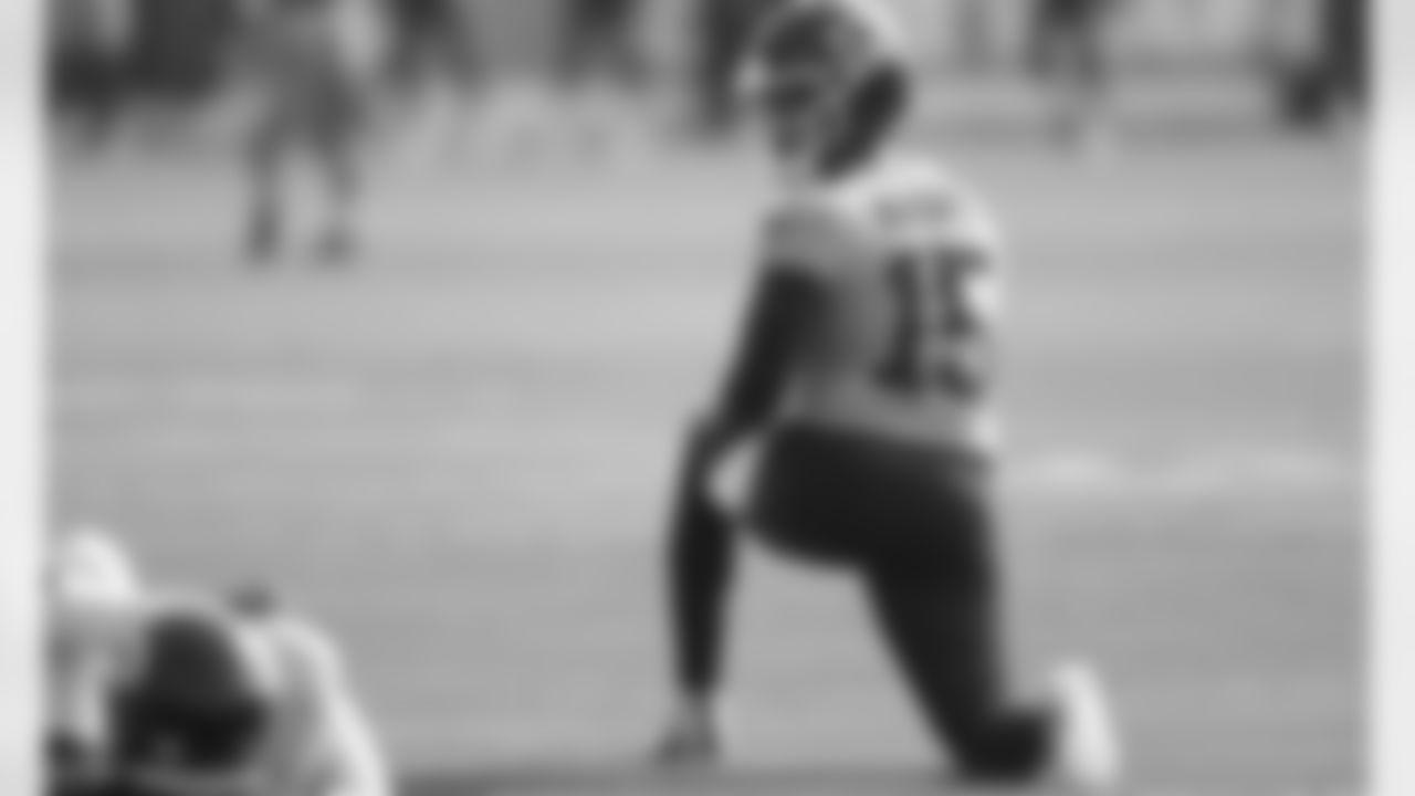 Kansas City Chiefs quarterback Patrick Mahomes (15) during training camp at Missouri Western State University.