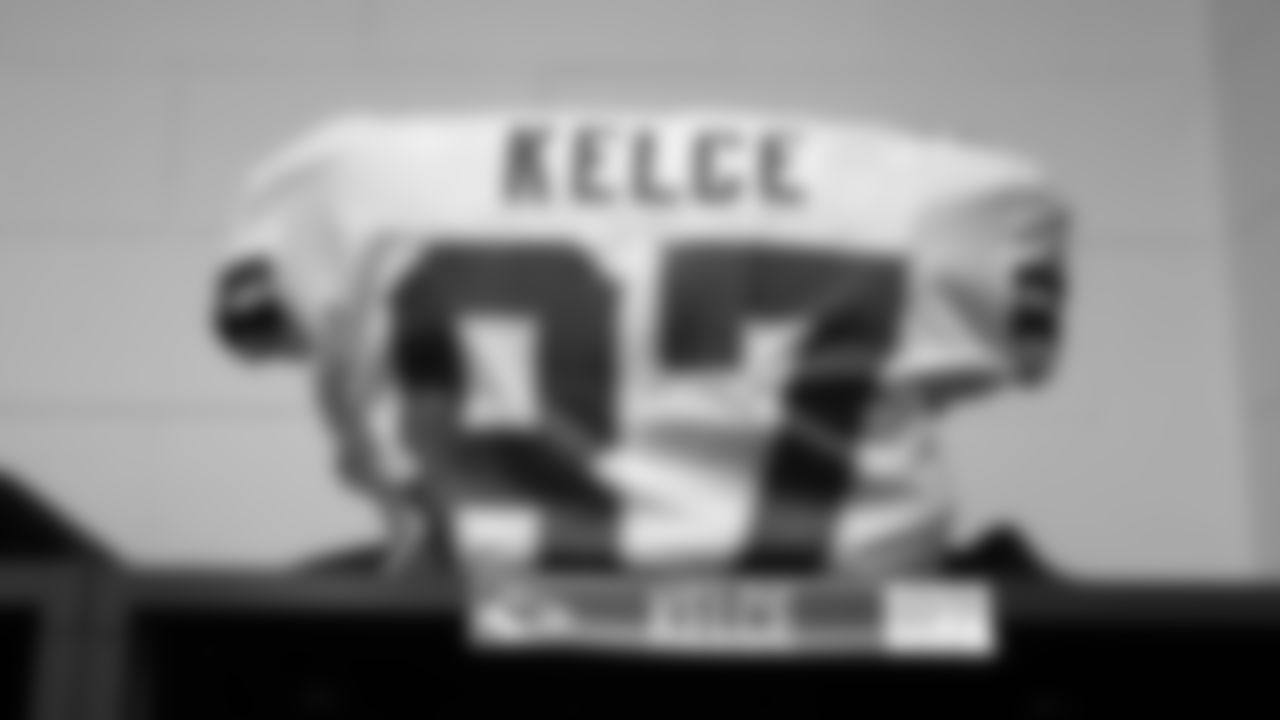 Kansas City Chiefs tight end Travis Kelce's jersey prior to the Week 2 game against the Baltimore Ravens at M&T Bank Stadium on September 19, 2021