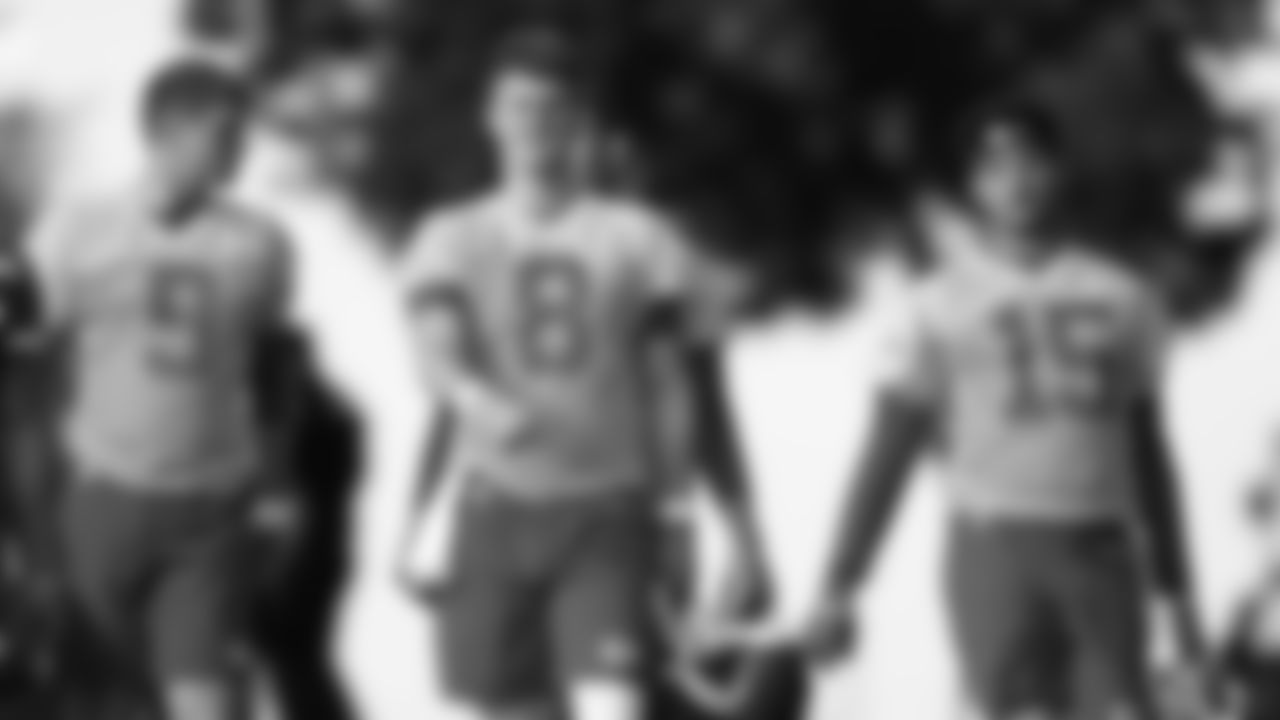 Kansas City Chiefs Quarterback Chase Litton (8) and Kansas City Chiefs Quarterback Patrick Mahomes (15) During 2019 Training Camp practice at Missouri Western State University, St Joseph, MO