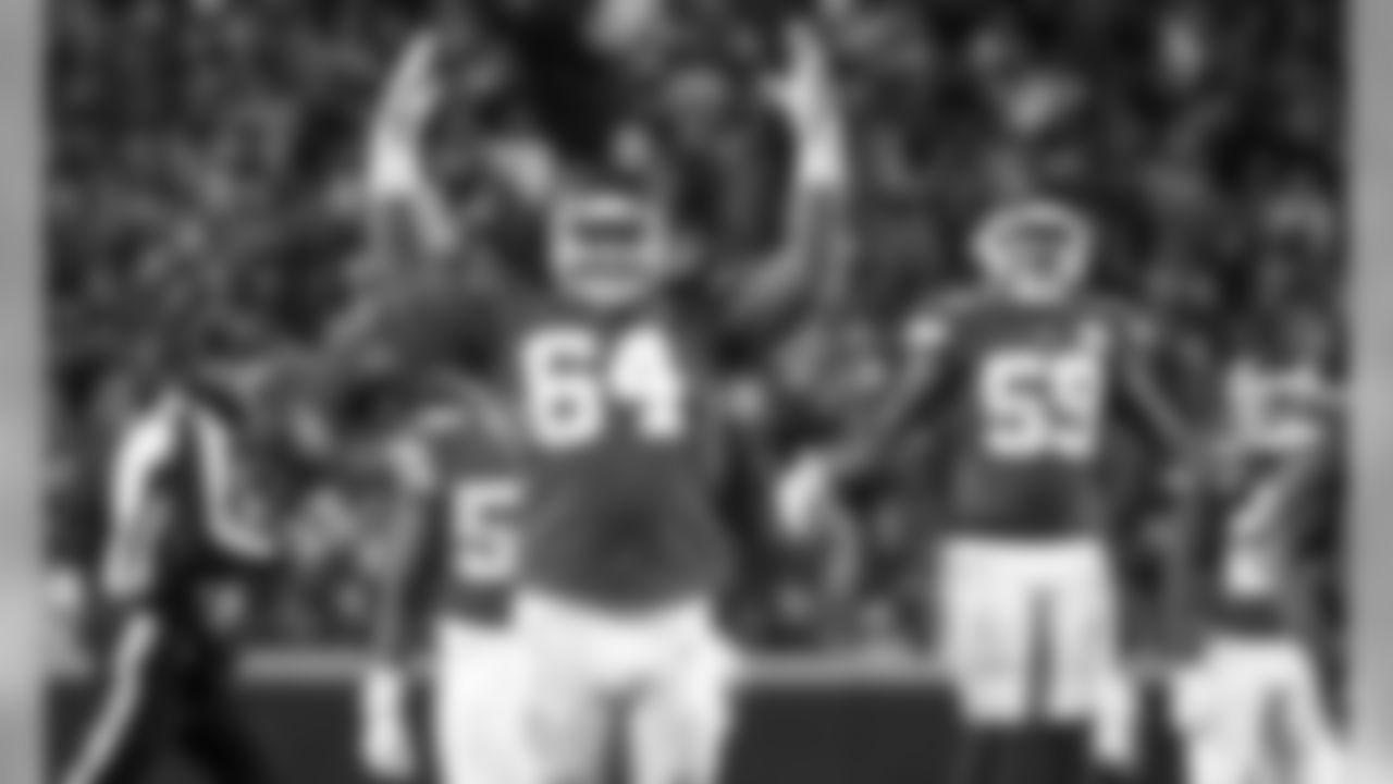 Kansas City Chiefs Defensive Tackle Mike Pennel (64) during the game between the Kansas City Chiefs and Oakland Raiders at Arrowhead Stadium on December 1, 2019.