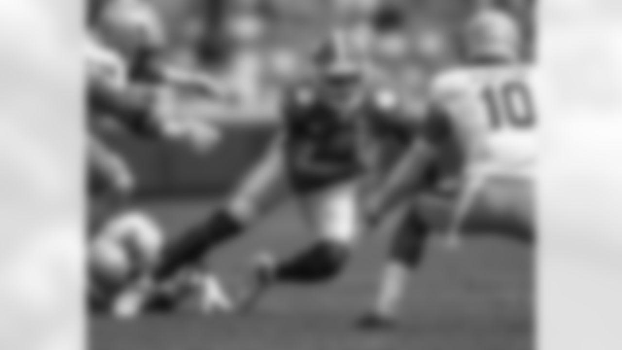 Clemson wide receiver Cornell Powell (17) runs against Boston College defensive back Brandon Sebastian (10) during the second half of an NCAA college football game Saturday, Oct. 31, 2020, in Clemson, S.C. (Josh Morgan/Pool Photo via AP)