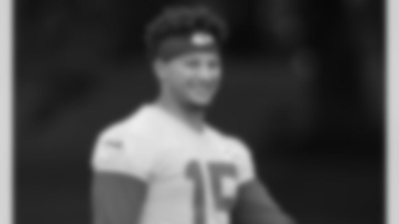Kansas City Chiefs quarterback Patrick Mahomes (15) during rookie training camp at Missouri Western State University