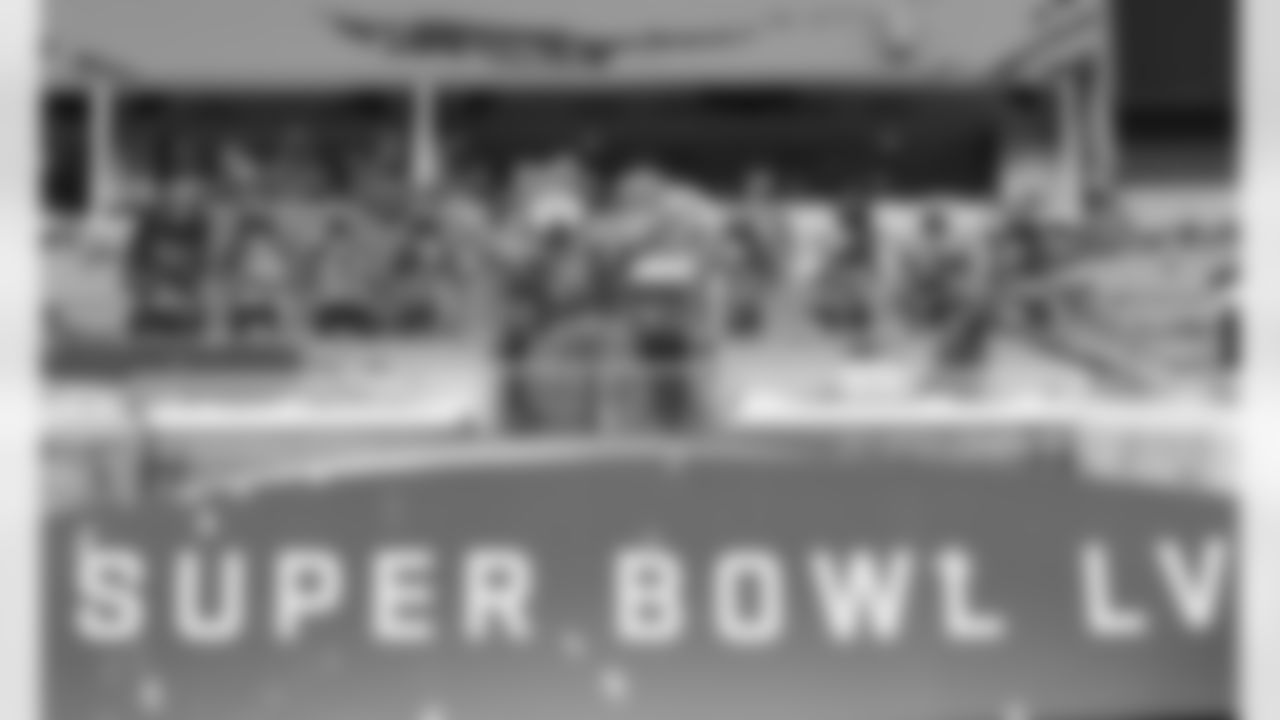 Kansas City Chiefs Cheerleaders perform at Super Bowl LV at Raymond James Stadium in Tampa, FL on February 7, 2021