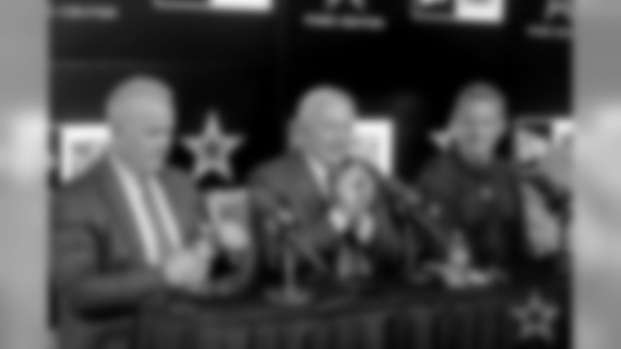 17 April 2019:   Views of pre-draft press conference with Stephen Jones, Jerry Jones, Jason Garrett and Gil Brandt of the Dallas Cowboys at Ford Center at The Star in Frisco, Texas.    Photo by James D. Smith/Dallas Cowboys