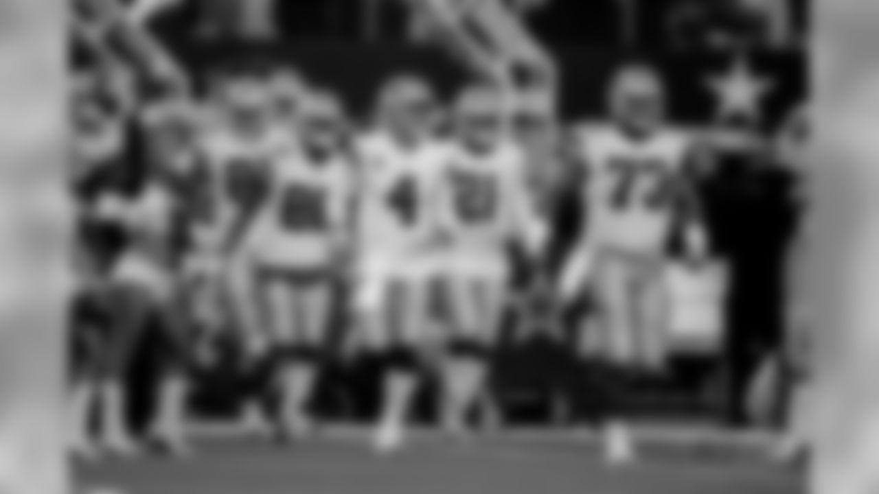 Dallas Cowboys quarterback Dak Prescott (4) takes the field before an NFL football game against the Washington Redskins in Arlington, Texas, Thursday, Nov. 22, 2018. (AP Photo/Michael Ainsworth)